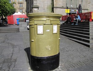 Gold Postbox - Hunter Square