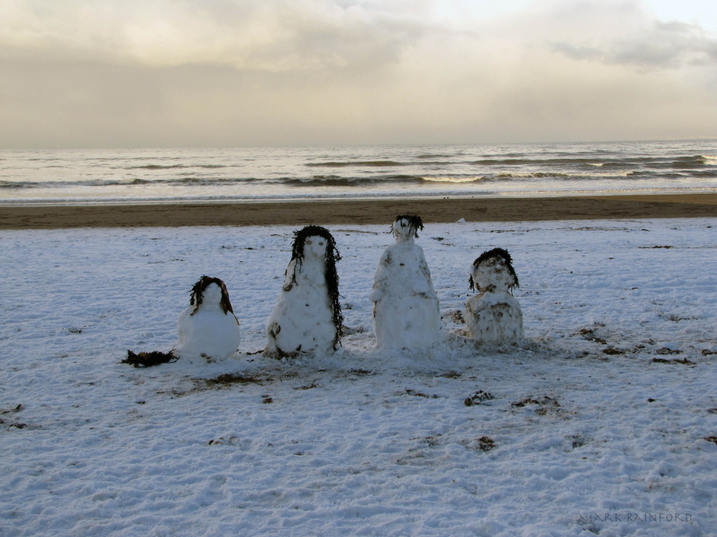 Snow Men on the Beach