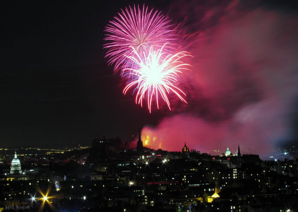Edinburgh fireworks concert Arthur's seat