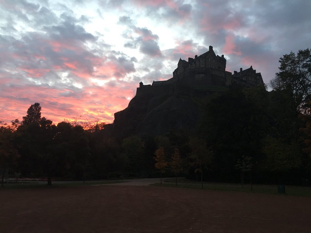 Red skies Edinburgh Castle